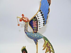 "Large 11"" Cloisonné Crane Bird with Dangling Prize in Mouth Spectacular👓"