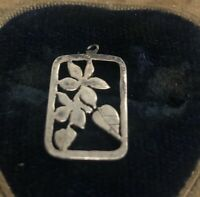 Vintage Sterling Silver Necklace 925 Pendant Charm Flower