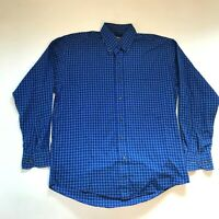 Paul Stuart Oxford Button Down Shirt Mens M Blue White Checkered Check Cotton