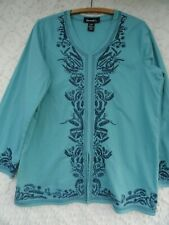 Denim & Company Blouse Misses L Cotton Teal Green Blue Embroidered MINT