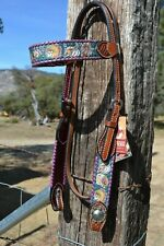 Rafter T Ranch Browband Headstall Native American Motif Crystals & Whip Stitch