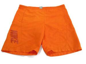 Nike Trunks Orange Drawstring Mesh Lined Side Pockets Nike Spell Out Men Size XL
