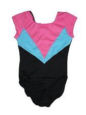 Girl Danskin Freestyle Short Sleeve Pink Blue Black Gymnastic Leotard Size 7/8 M
