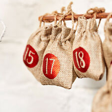 Christmas Xmas Advent Calendar Tree Decoration Hanging Sacks Pouches Bags Gift