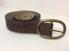 Womens Leather Belt * 39 Inches Brown Flower Design