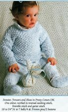 "495 Baby Girl/Boy DK Sweater, Trousers & Shoes 18-24"" Vintage Knitting Pattern"