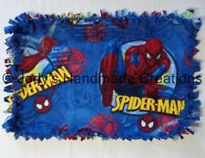 HANDMADE BABY / PET MINI FLEECE TIED SECURITY BLANKET - SPIDER-MAN/ BLUE 16 X 24