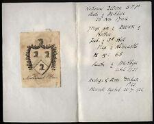 More details for 18th-19th century ex libris book plate- nathanael ellison