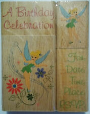 Set of 4 Birthday Stamps Tinkerbell Wood Mounted Rubber All Night Media NIP