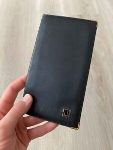 Dunhill Vintage Black Leather Bifold Checkbook Wallet Cover Card Passport Holder