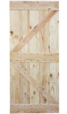"36""x84"" Natural Primed Solid Barn Knotty Pine Wood Interior Sliding Door Slab"