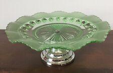 PRELOVED VINTAGE GREEN GLASS HOBNAIL CAKE STAND