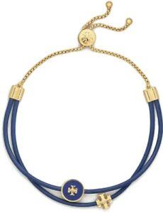 TORY BURCH KIRA ENAMEL LOGO SLIDER BRACELET TORY BLUE / GOLD ADJUSTABLE NWT