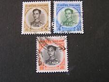 Thailand, Scott # 407A-409(3).4b+5b+10b. Values 1963-71 Bhumibol Iss. Used
