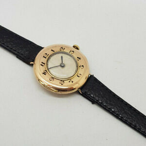 RARE ANTIQUE ROLEX 9CT GOLD OFFICERS TRENCH HALF HUNTER CREM DIAL WATCH