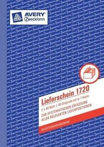AVERY Zweckform Lieferschein 1720 A5 2x40 Blatt