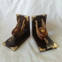 Pulley Beach Nautical Coastal Boat Ship Decor Book ends Bookends sheave pulley