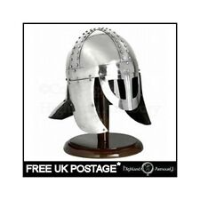 VIKING SPECTACLE HELMET WITH CHEEK GUARDS And Wooden Display Stand New Larp