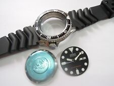 NEW REPLACEMENT BLACK CASE,CROWN,DIAL,HANDS,STRAP FITS SEIKO DIVER'S 7S26-0020