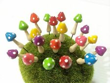 Miniature Dollhouse Fairy Garden Accessories-10 Tiny multi-color Mushroom Picks.