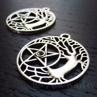 Celtic Tree And Star 30mm Antiqued Silver Plated Charms C3765 - 5, 10 Or 20PCs