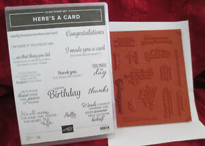 STAMPIN UP HERE'S A CARD CLING STAMP SET 14 STAMPS