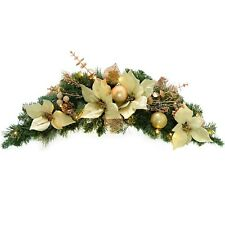 Pre-Lit Decorated Arch Garland Illuminated with 20 Warm White LED Lights, 90 cm