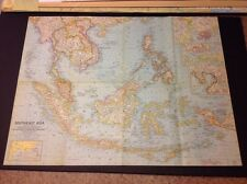 1961 MAP OF SOUTHEAST ASIA NATIONAL GEOGRAPHIC SOCIETY