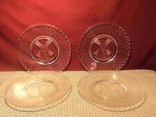 "Vintage Set of 4  Hazel Atlas Luncheon Plates 8"" Windmill & Checker Board Design"