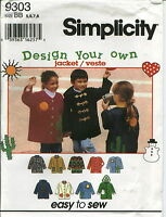 S 9303 sewing pattern child's JACKET with HOOD Heart Cactus Sun Snowman APPLIQUE