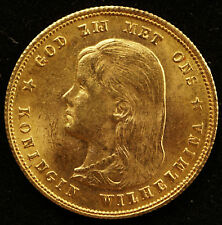 NETHERLANDS 10 GULDEN  1897 GOLD  LONG HAIR Prooflike KM#118
