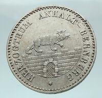 1861 GERMANY German States Anhalt-Bernburg Antique Silver 1/6 Thaler Coin i81561