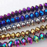 Lots New Rondelle Faceted Crystal Glass Loose Spacer Bead Jewelry Finding 4-10MM