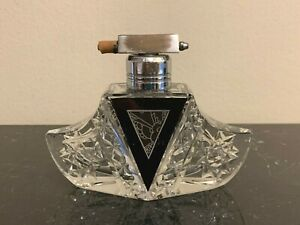 Vintage Karl Palda Bohemian Czech Art Deco Clear and Black Perfume Atomizer