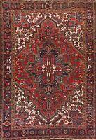 Vintage RED Vegetable Dye Heriz Geometric Area Rug Hand-Knotted 7'x9 Wool Carpet