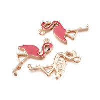 100x Flamingo Alloy Enamel Pendants Light Gold Dangle Charms Findings Craft 26mm