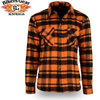 Bikers Gear Kevlar® Lined Flannel Lumberjack Motorcycle Shirt Orange & Black