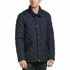 Cole Haan Diamond Quilted Barn Jacket Ribbed Collar Navy NEW Men's Small $300