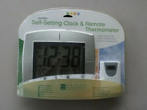 NEW Oregon Scientific Jumbo Self Setting Clock & Remote Thermometer Easy Read