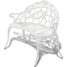vidaXL Banco de Jardín Blanco/Verde Aluminio Fundido Dimensiones 100 x 54 x 80cm