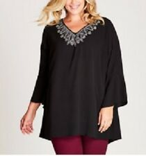 Plus Size Autograph Ladies Wide Embroidered Black Tunic / Top Size 20 Free Post