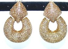 Vtg Earrings Design by SD Topaz made with Swarovski Crystal Pave Gold Tone