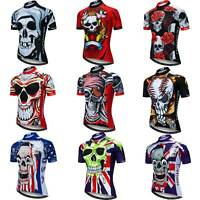 Men's Skull Cycling Jersey Short Sleeve Bike Shirt with Reflective Zip Pocket