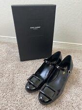 Ysl Vitello Vernice Soft Nero Mid Heel Leather Upper Size 38.5/8.5