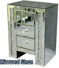 Mirrored Bedside Tables Cabinet 3 Drawers Nightstand Side Table Mirror Bedside