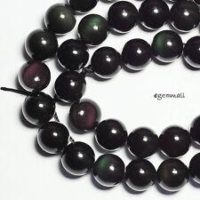 "15.5"" Black Rainbow Obsidian Round Beads 10mm #89046"