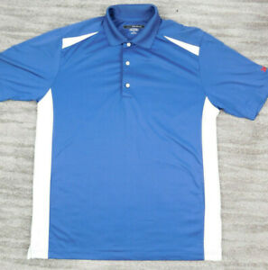 Greg Norman Play Dry  Polo Golf Shirt Men's sz Large L Blue White Chartwell
