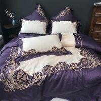 Luxury Pastoral Embroidery Egyptian Cotton  Bedding Set 4pcs Cover Bed Sheet