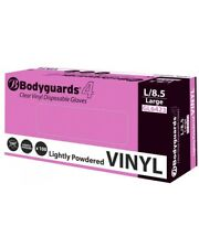 BODYGUARDS CLEAR VINYL LIGHTLY POWDERED GLOVES LARGE VE100/03 - 10 BOXES