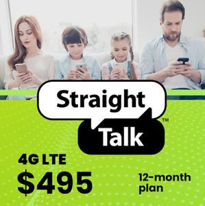 Straight Talk $495 Card 12 Months Unlimited Talk/Text 25GB 4G LTE 365 Days